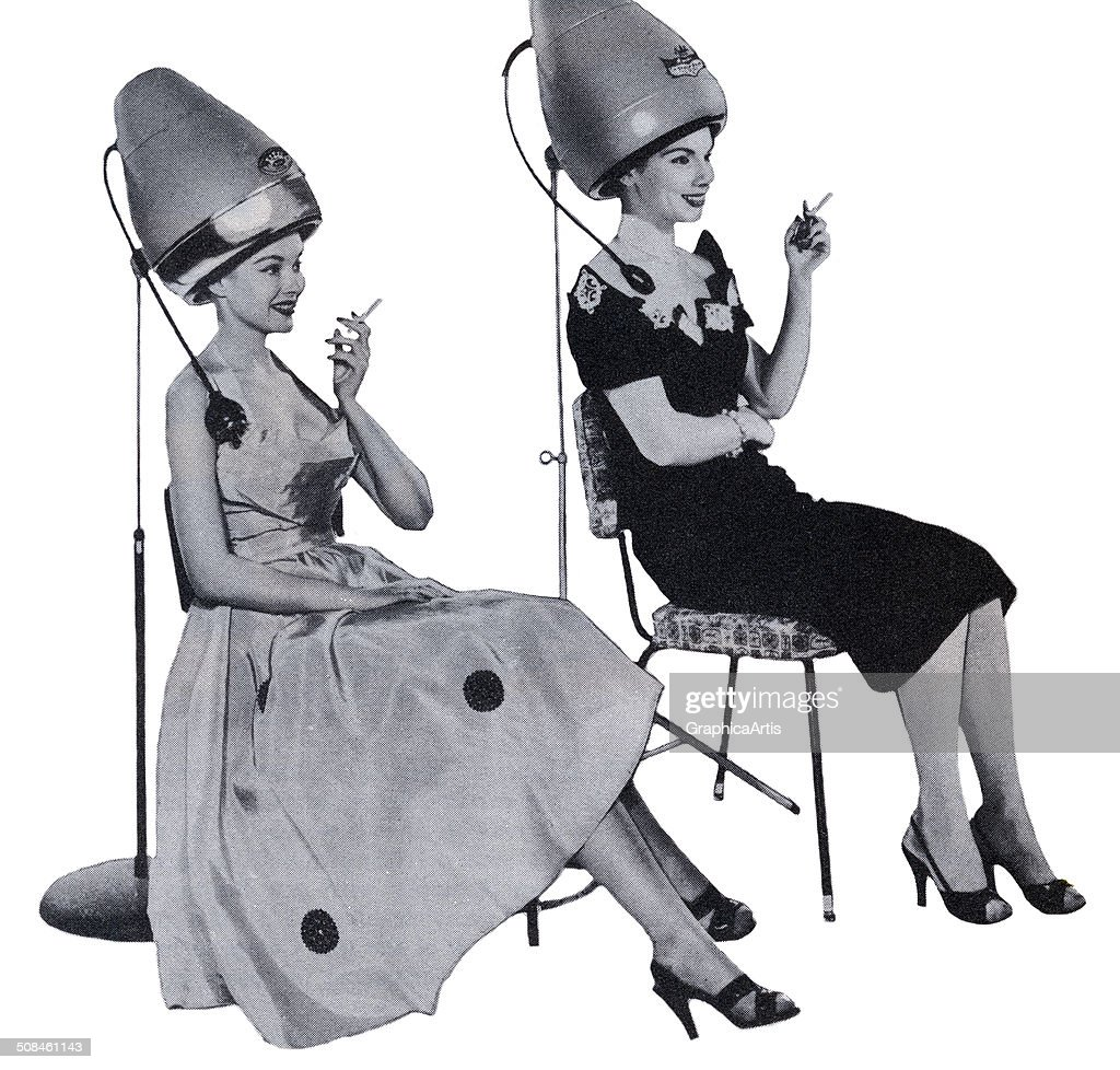 Vintage illustration of two women smoking and sitting under hair dryers at a beauty salon, 1958. Screen print.