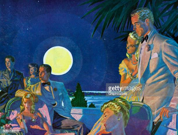 Vintage illustration of wealthy couples relaxing by moonlight on the beachfront terrace of the luxury Coral Beach Resort Bermuda 1947 Screen print