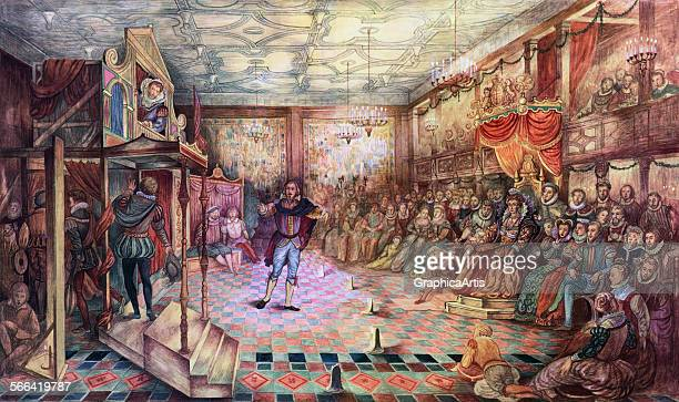 Vintage illustration of William Shakespeare and the Lord Chamberlain's Company performing 'Two Gentlemen of Verona' to Queen Elizabeth I at Greenwich...