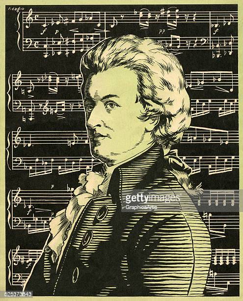 Vintage illustration of Wolfgang Amadeus Mozart in profile in front of a musical score woodcut 1941