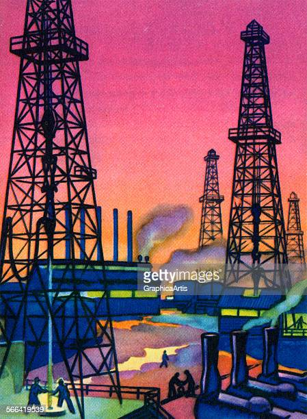 Vintage illustration of workers mainting wells at an oil field screen print 1951