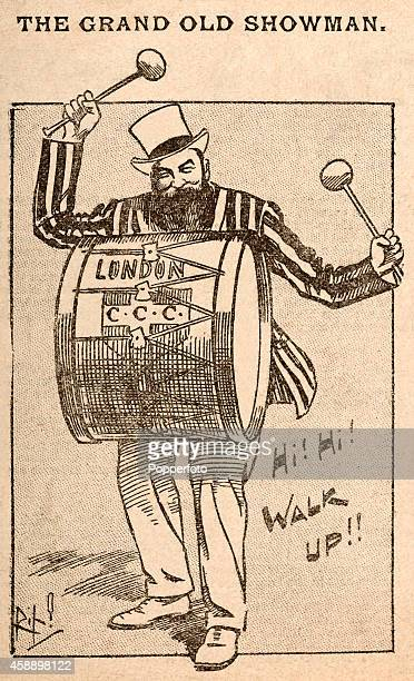 """Vintage illustration portraying England cricketer Dr WG Grace as """"The Grand Old Showman"""" banging on the London CCC bass drum, circa 1885."""