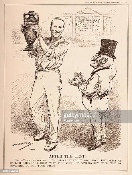 A vintage illustration published in 'Punch' in London on 22nd February 1933 and featuring captain Douglas Jardine with the Ashes after their 41 Test...