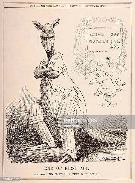 A vintage illustration published in 'Punch' magazine in London on 12th December 1928 featuring a kangaroo representing the Australia cricket team...