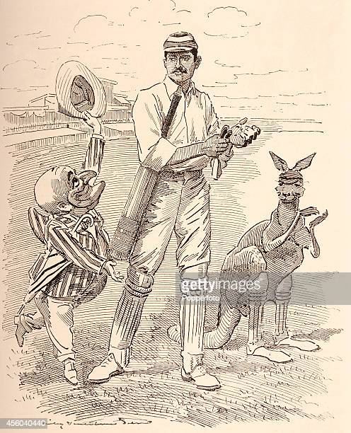 A vintage illustration published in 'Punch' on 25th December 1897 featuring Mr Punch Kumar Shri Ranjitsinhji and a kangaroo representing the...