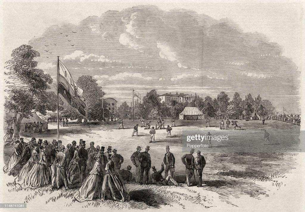 Cricket Match At Phoenix Park In Dublin - Vintage Illustration : News Photo