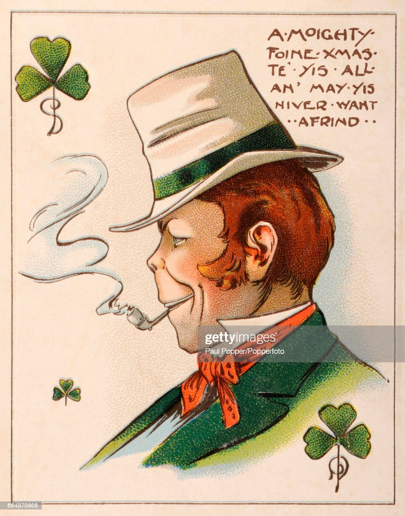 Irish christmas greetings pictures getty images a vintage illustration showing an irish man smoking a pipe with the christmas greeting a kristyandbryce Images