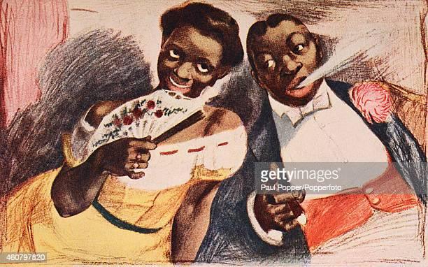 Vintage illustration showing two black people dressed in vintage fashion, circa 1910.