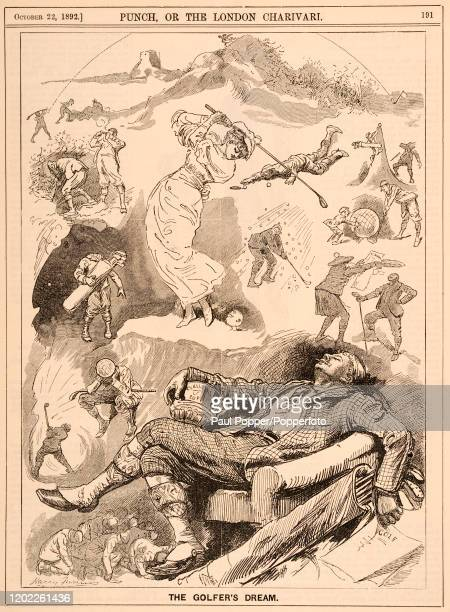 """Vintage illustration titled """"The Golfer's Dream"""" featuring a number of golfing scenarios including a """"blind"""" hole-in-one, as it appeared in """"Punch""""..."""