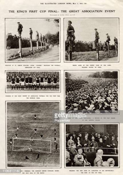 Vintage illustrations capture the action during the English FA Cup Final match between Burnley Football Club and Liverpool Football Club watched by...