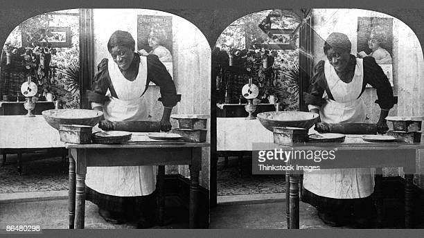 Vintage image of maid cooking