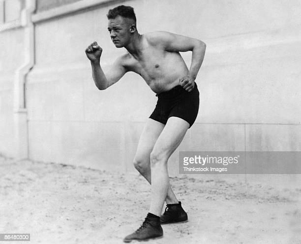Vintage image of man in boxer stance