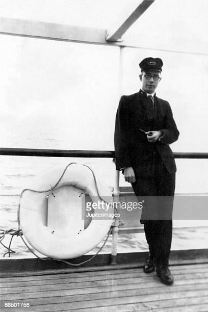 Vintage image of naval officer on ship