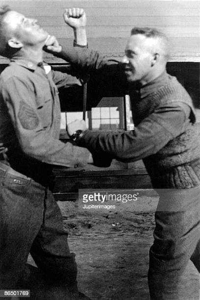 Vintage image of soldiers boxing