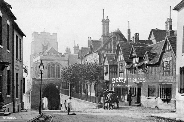 Vintage image of street and buildings in England
