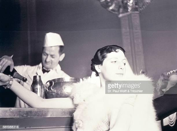 Vintage Image of Woman Sitting At Bar