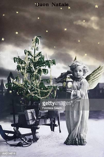 vintage italian christmas card - christkind stock-fotos und bilder