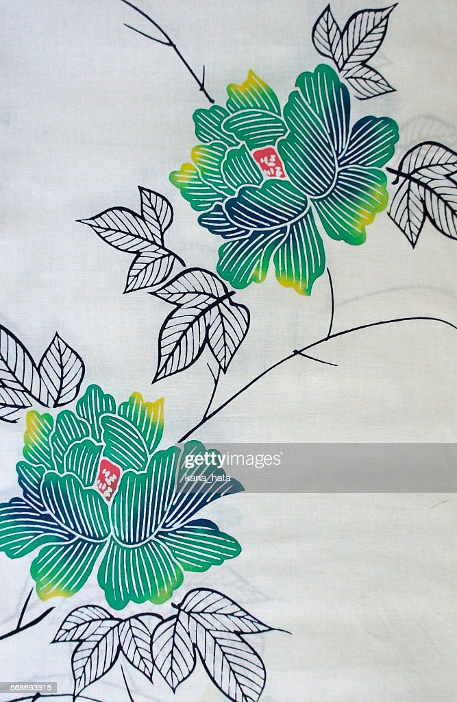 Vintage Japanese summer kimono Yukata fabric : Foto de stock