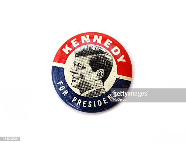 vintage john f. kennedy political campaign button - presidential election stock pictures, royalty-free photos & images