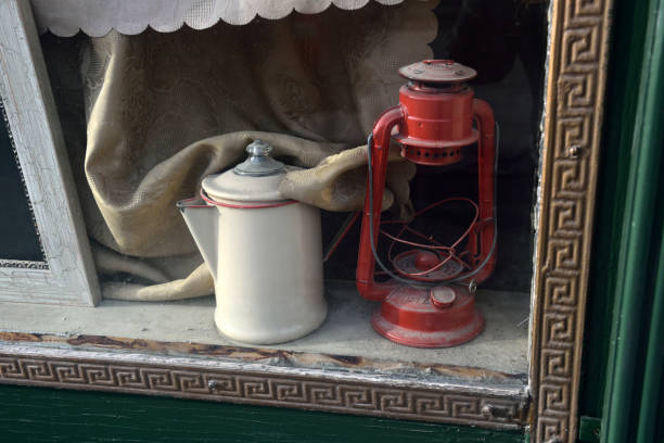 Vintage Kerosene lamp and Vintage Coffee Pot