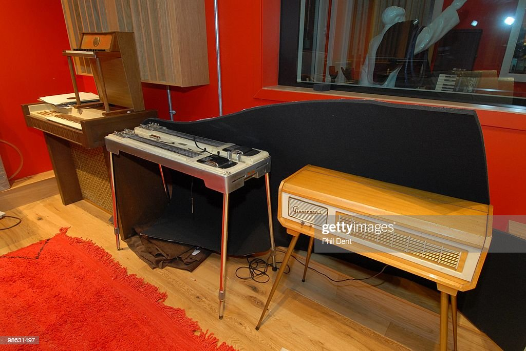 vintage keyboards and a pedal steel guitar at the Paint Factory recording studio on 22nd October 2008 in the United Kingdom.