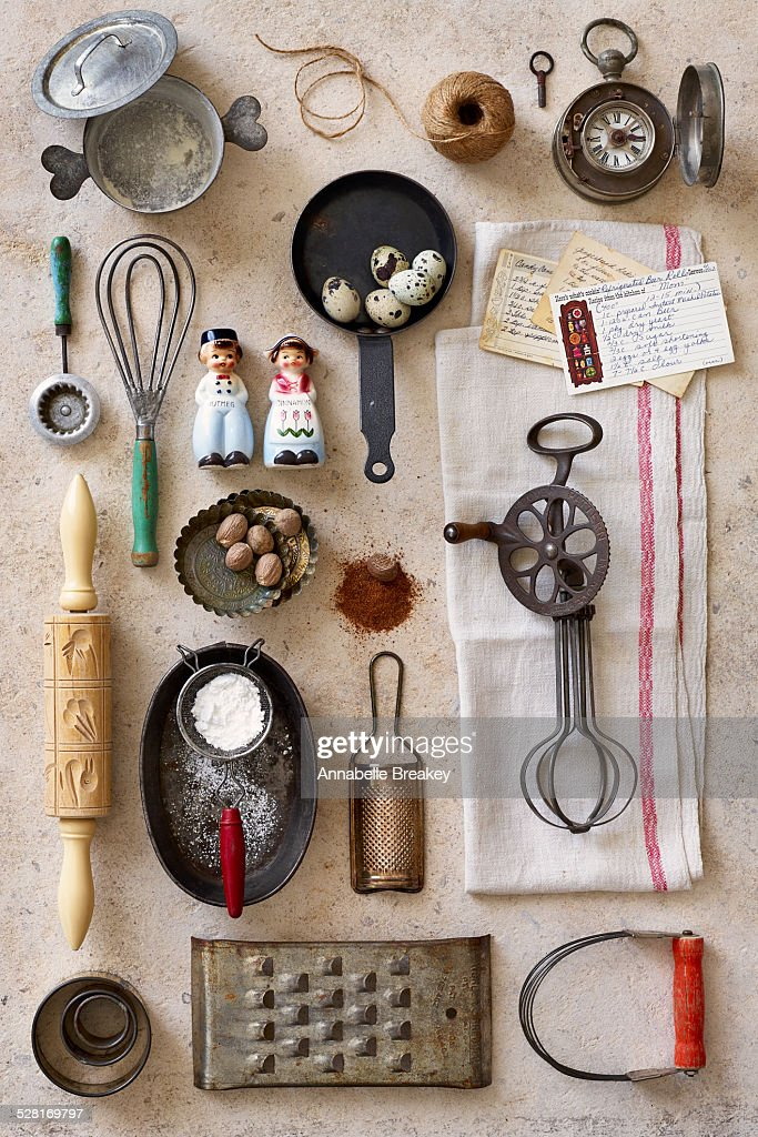 Vintage kitchen baking tools stock photo getty images for Antique kitchen utensils identification