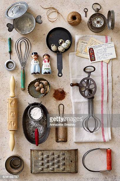 vintage kitchen baking tools - cooking utensil stock photos and pictures