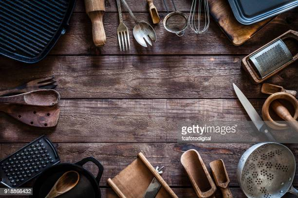 vintage kitchen utensils frame - cooking utensil stock photos and pictures