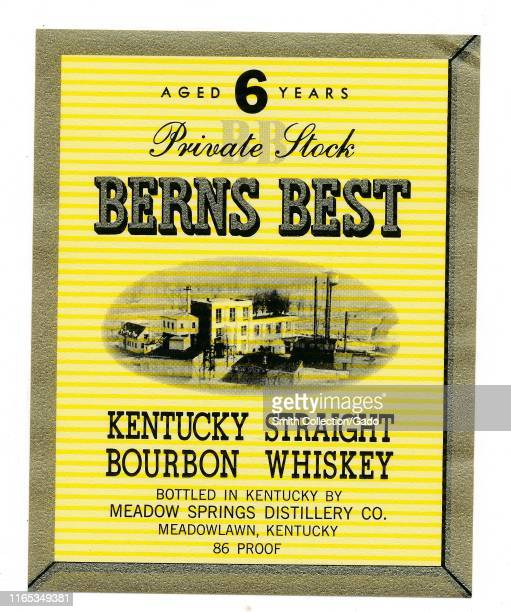 """Vintage label for a bottle of """"Berns Best"""" Kentucky bourbon whiskey, with an image of a factory, bottled by Meadow Springs Distillery, Meadowlawn,..."""