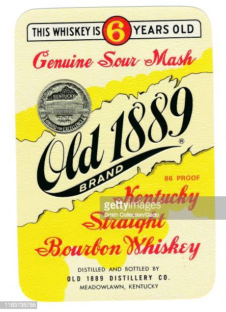 """Vintage label for a bottle of """"Old 1889 Brand, Kentucky Straight Bourbon Whiskey, """" with a Kentucky State Fair Award for Excellence, manufactured by..."""