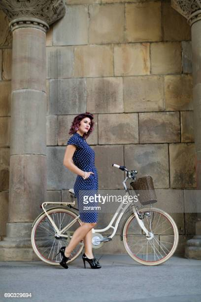 Vintage lady with her bike