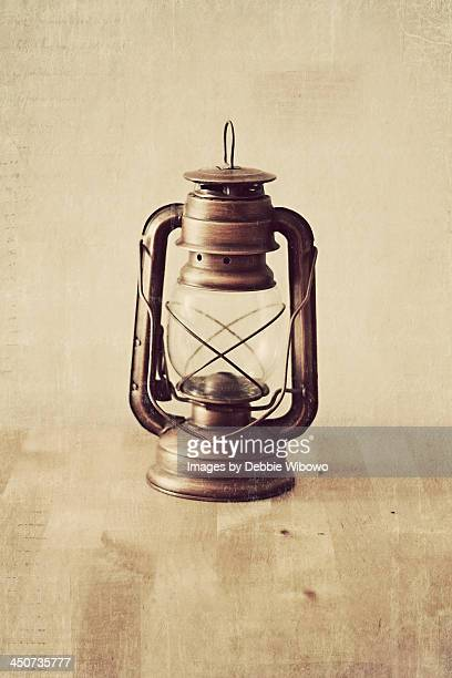Vintage lantern on wooden table