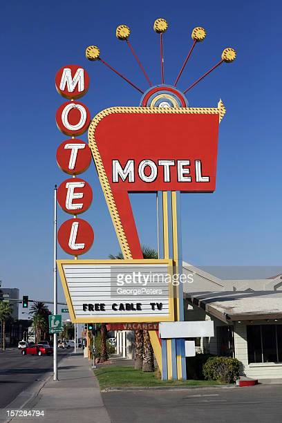 vintage las vegas motel sign - motel stock photos and pictures