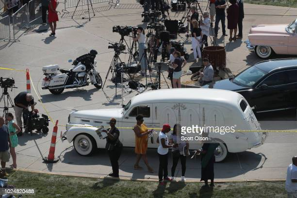 A vintage LaSalle hearse that carried the body of Aretha Franklin sits outside of the Charles H Wright Museum of AfricanAmerican History where a...