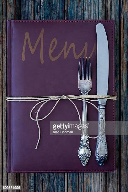 Vintage leather restaurant or cafe food menu