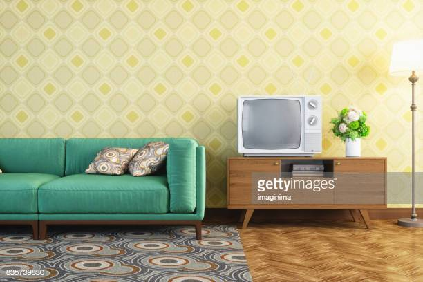 vintage living room interior - obsolete stock pictures, royalty-free photos & images