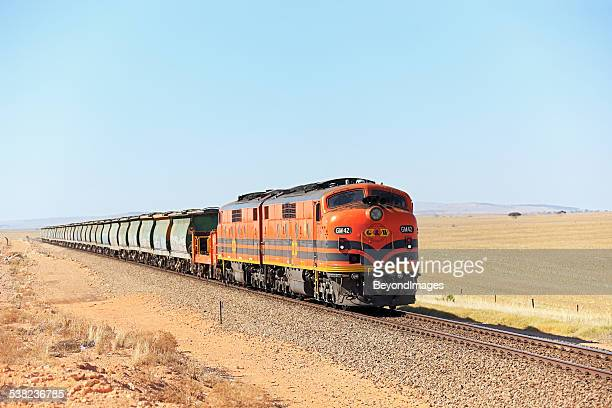 vintage locos with grain train in 2015 - cargo train stock photos and pictures