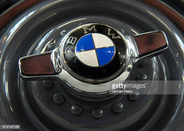 A vintage logo of German automaker BMW in seen on a wheel cap during the celebration marking the 100th anniversary of BMW on March 7 2016 in Munich...