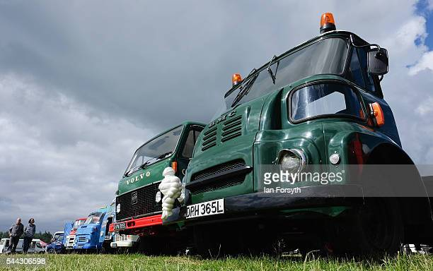 Vintage lorries and commercial vehicles are displayed at the annual Duncombe Park Steam Fair on July 3 2016 in Helmsley England Held in the...