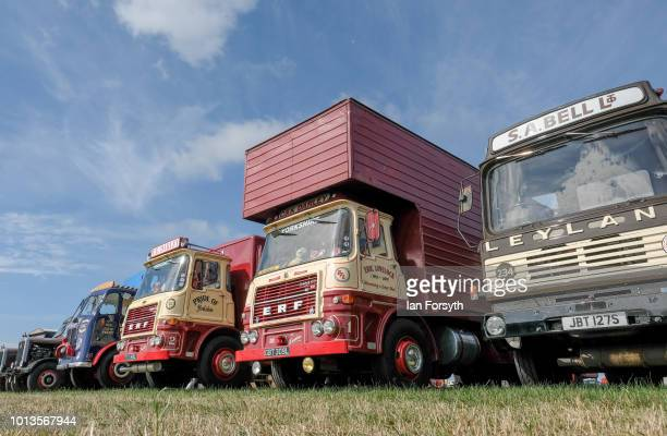 Vintage lorries are displayed during the final day of the Whitby Traction Engine Rally on August 5, 2018 in Whitby, England. Situated close to the...