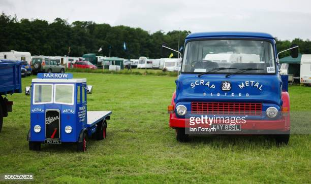 Vintage lorries including a miniature lorry are displayed during the Duncombe Park Steam Rally on July 1 2017 in Helmsley United Kingdom Held...