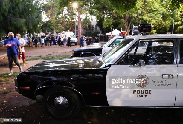 Vintage Los Angeles Police Department vehicles are displayed during a National Night Out event hosted by Melrose Action on August 03, 2021 in Los...