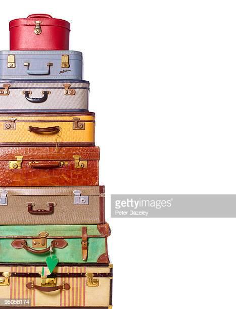 vintage luggage against white background