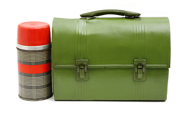 vintage lunch box and thermos - lunchbox stock pictures, royalty-free photos & images