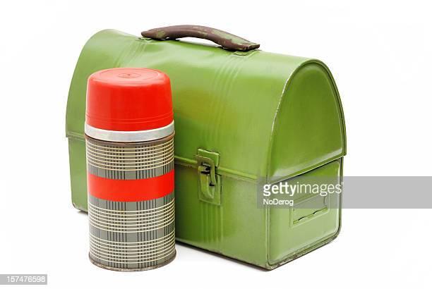 Vintage caixa de almoço e thermos