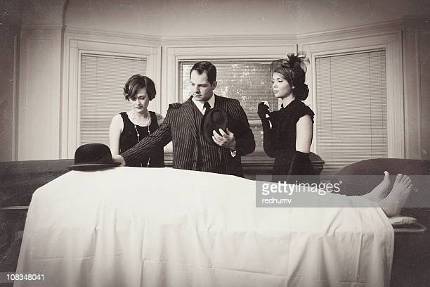 vintage mafia funeral - morgue woman stock pictures, royalty-free photos & images