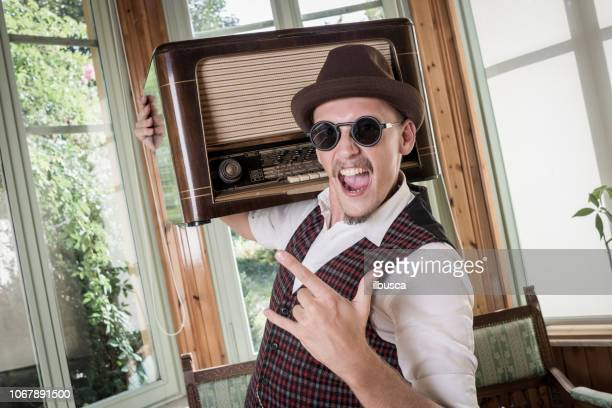 Vintage man listening to his radio