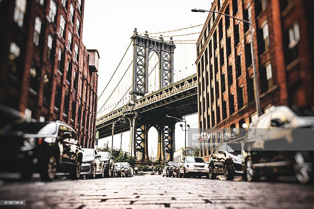 Vintage manhattan bridge in new york : Stock Photo