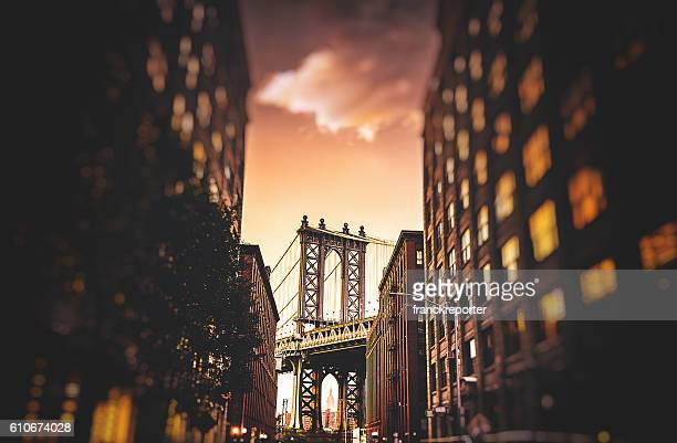 Vintage de Pont de manhattan à new york