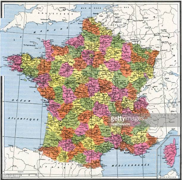 Vintage map of departments of France color engraving c 1920